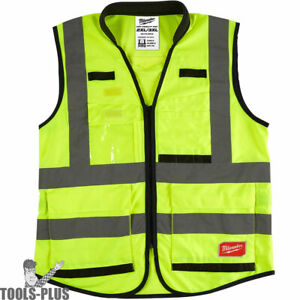 Milwaukee 48 73 5043 High Vis Yellow Performance Safety Vest 2x 3x large New