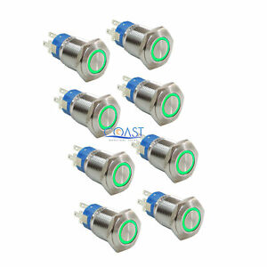 8x Durable 12v 19mm Car Push Button Green Angel Eye Led Metal Latching Switch