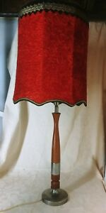 Huge Vintage Hollywood Regency Table Lamp With Red Velvet Furry Shade 44 Tall