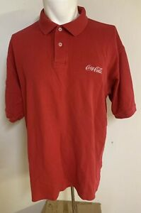 Vintage License Coca Cola Polo Mens Shirt Adult XLarge Embroidered Logo Red