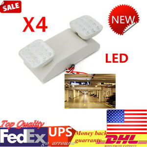 New 4 Led Emergency Light Twin Square Heads Lighting Exit Lamp Fixture 110v