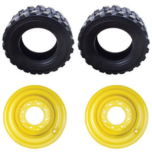 Set Of 2 14 ply 12 X 16 5 Tires W Yellow Rims For Cat jd new Holland Skid Steer