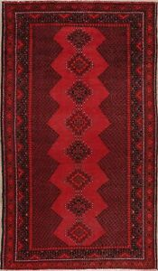 Vintage Geometric Hand Knotted Balouch Afghan Area Rug Wool Oriental Carpet 4x8