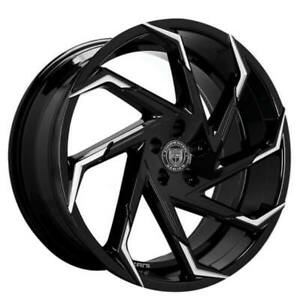 4ea 24 Lexani Wheels Cyclone Gloss Black W Machined Tips Rims s3