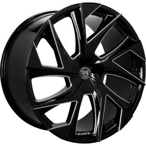 4ea 24 Lexani Wheels Ghost Black With Machined Accents Rims s3