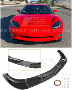 For 05 13 Corvette C6 Base Zr1 Extended Style Black Front Lower Lip Splitter