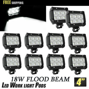 10pcs 4 Inch 18w Led Flood Beam Cube Fog Work Lights Pods For Off Road Suv Atv
