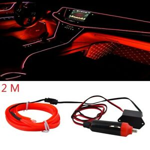 Red 2m Led Car Auto Interior Decor Atmosphere Wire Light Strip Atmosphere Lamp