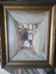 Antique Victorian Carved Frame Shadow Box Wedding Picture Flowers Veil Vintage