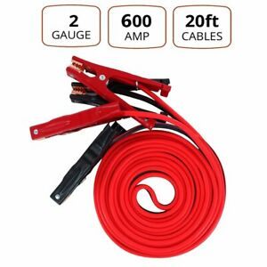 2 Gauge 20 Ft Commercial Heavy Duty Booster Cable Jumping Cables Power Jumper