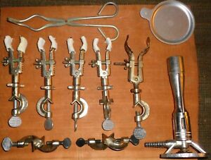 Lot Of Fisher castaloy And Other Laboratory Clamps Holders lab Bunsen burner