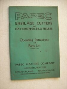 Original Papec Ensilage Cutters Hay Chopper Silo Operating Parts List 1951