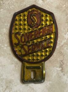Sovereign Service Vintage Automotive License Plate Tag Topper Original
