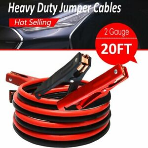 Comercial Heavy Duty 20 Ft 2 Gauge Booster Cable Jumping Cables Power Jumper New