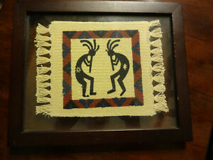 Vintage Native American Indian Small Wool Saddle Blanket Rug Framed In 8 X 10