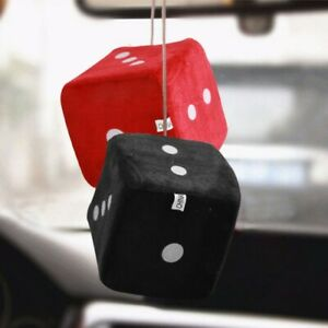 Auto Car Fuzzy Dice Dot Rear View Mirror Hanger Decoration Car Styling Interior