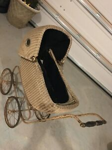 Antique Vintage Baby Doll Wicker Carriage Stroller Buggie Buggy Felt Cloth