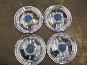 Set Of 4 50 1950 Chrysler Windsor Saratoga Hubcaps 15 Original Oem Vintage