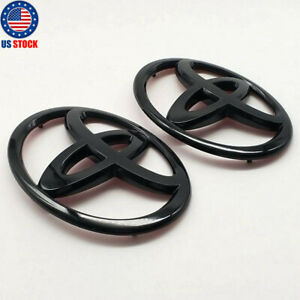 2pcs Glossy Black Front And Rear Car Badge Emblem For Toyota 86 Gt86 Frs Toyota