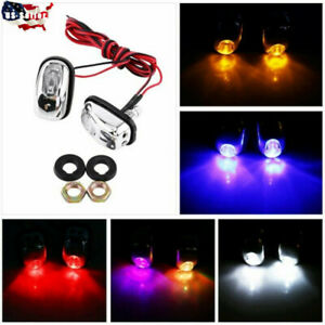 1 Pair 12v Car Led Light Wiper Hood Windshield Water Spray Nozzle Washer Lamp