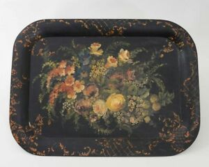Antique Toleware Black Metal Tray Ornately Hand Painted Chippendale Floral 26