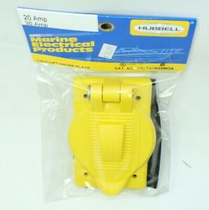 Hubbell Hbl74cm25woa Yellow Lift Cover Plate 20 30 Amp Outlet Marine Boat