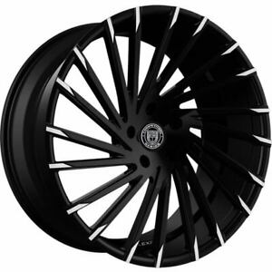 4ea 24 Lexani Wheels Wraith Black W Machine Tips Rims s5