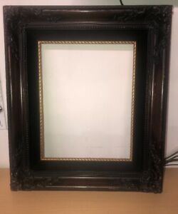 Antique Wood Ornate Wooden Wall Picture Photo 15x13 Frame No Glass Velvet Gold
