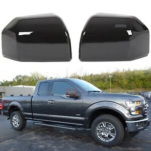 For 15 19 Ford F150 Truck Mirror Cover Skull Cap Painted Black Pair Set Of 2