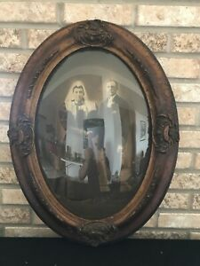 Antique Oval Convex Hand Carved Wood Picture Frame Bubble Glass 25 X 18