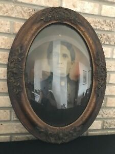 Antique Oval Convex Hand Carved Wood Picture Frame Bubble Glass 24 X 18