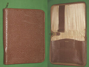 Compact Note Pad Brown Leather Lightning Planner Vintage Binder Franklin Covey