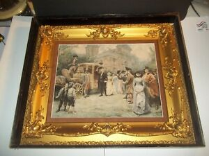 Antique Gold Gilt Frame In Shadow Box For Victorian Painting For 14 X18 Picture