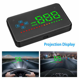Universal Car Gps Speedometer Hud Head Up Display Overspeed Tired Warning System