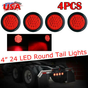 4x Round 4 Inch 24 Led Lights Stop turn tail Brake Sealed Car Truck Trailer Lamp