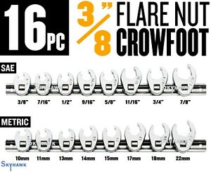 16pc 3 8 Flare Nut Crowfoot Wrench Set With Holder Sae metric