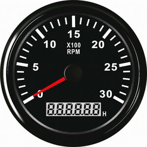 1pc Blue Backlight Tachometer Gauges 0 3000rpm Rev Counters 85mm With Hour Meter