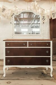 Antique White Painted Dresser With Mirror Distressed Farmhouse Style