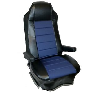 Seat Cover W pocket Blue black Faux Leather Peterbilt Freightliner Semi Truck