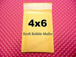 44 Kraft Bubble Envelopes 4x6 Small Self sealing Padded Shipping Mailers