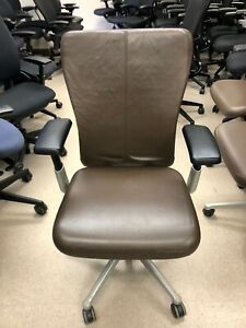 Haworth Zody Task Office Chair Fully Loaded Brown Leather Seat Back Jacket
