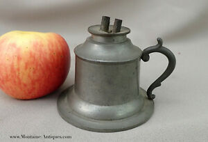 Diminutive American Pewter Whale Oil Finger Lamp C Early 19th Cent