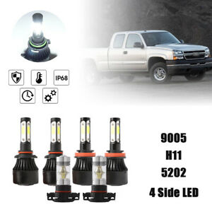 4 side 6500k White Led Headlight Fog Lamp Bulbs For 07 13 Chevy Silverado 1500