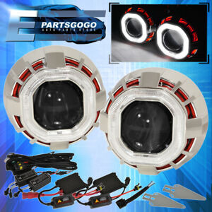 Universal 2 5 Bi Xenon Headlight Retrofit Dual Ccfl Angel Eye Ring Hid Kit