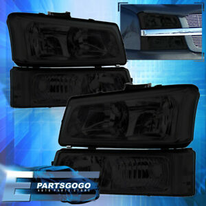 For 03 06 Chevy Silverado Smoked Clear Corner Head Lights Signal Bumper Lamps