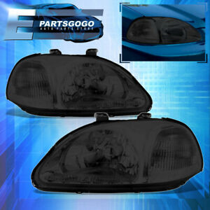 For 96 98 Honda Civic Ek Ej Em Smoke Housing Headlights Lamps W Clear Reflector