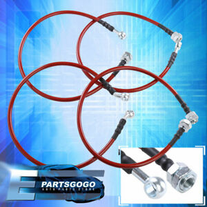 For 01 05 Civic Front Rear Red Stainless Steel Hose Oil Brake Line Cable Black