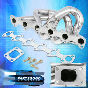 For 86 91 Bmw E30 E34 24v 6cyl Performance T3t4 Steel Turbo Exhaust Manifold Kit