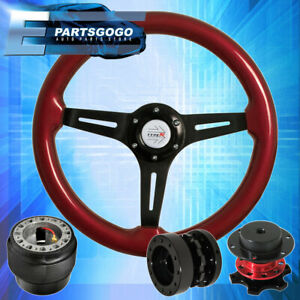 Red Quick Release Extender Red Wood Trim Steering Wheel For 90 97 Miata