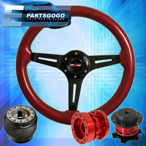 Red Wood Black Steering Wheel Red Extender Quick Release For 90 97 Miata